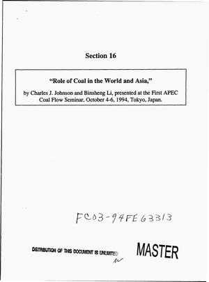Primary view of object titled 'Role of coal in the world and Asia'.