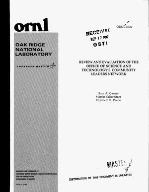 Primary view of object titled 'Review and evaluation of the Office of Science and Technology`s Community Leaders Network'.