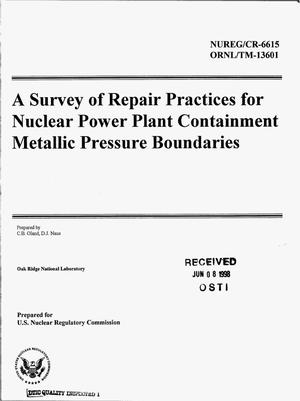 Primary view of object titled 'A survey of repair practices for nuclear power plant containment metallic pressure boundaries'.