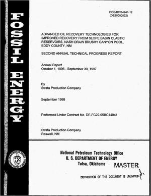 Primary view of object titled 'Advanced oil recovery technologies for improved recovery from slope basin clastic reservoirs, Nash Draw Brushy Canyon Pool, Eddy County, NM. Second annual technical progress report, October 1, 1996--September 30, 1997'.