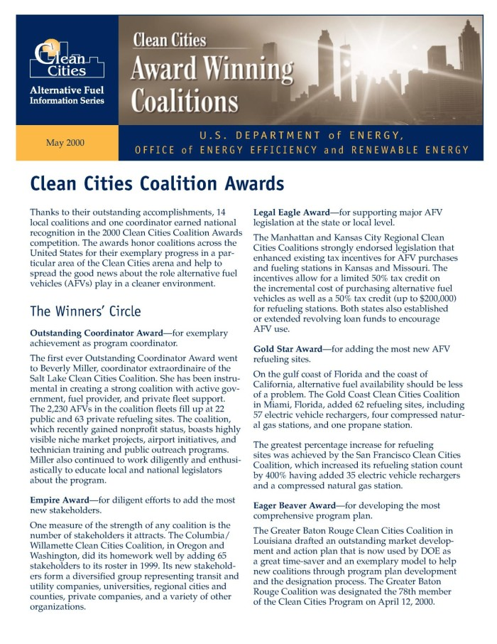 Clean Cities Coalition Awards (Clean cities alternative fuel