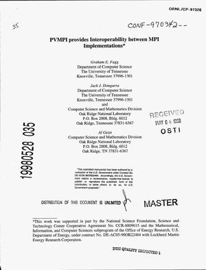 Primary view of object titled 'PVMPI provides interoperability between MPI implementations'.