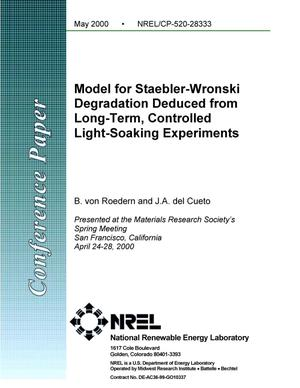 Primary view of object titled 'Model for Staebler-Wronski degradation deduced from long-term, controlled light-soaking experiments'.