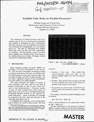 Primary view of object titled 'Scalable Unix tools on parallel processors'.
