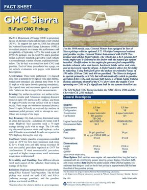 Primary view of object titled 'GMC Sierra fact sheet'.