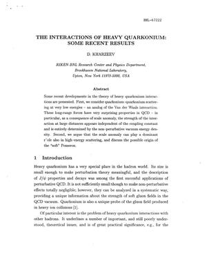 Primary view of object titled 'THE INTERACTIONS OF HEAVY QUARKONIUM: SOME RECENT RESULTS'.
