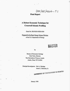 Primary view of object titled 'A robust economic technique for crosswell seismic profiling. Final report'.