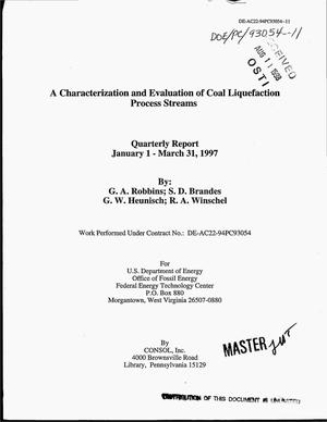Primary view of object titled 'A characterization and evaluation of coal liquefaction process streams. Quarterly report, January 1--March 31, 1997'.