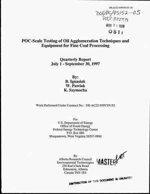 Primary view of object titled 'POC-scale testing of oil agglomeration techniques and equipment for fine coal processing. Quarterly report, July 1--September 30, 1997'.