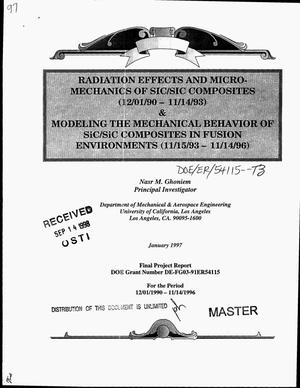 Primary view of object titled 'Radiation effects and micromechanics of SiC/SiC composites (December 1, 1990--November 14, 1993) and modeling the mechanical behavior of SiC/SiC composites in fusion environments (November 15, 1993--November 14, 1996). Final report, December 1, 1990--November 14, 1996'.
