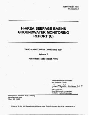 Primary view of object titled 'H-Area Seepage Basins Groundwater Monitoring Report: Volume 1, Third and Fourth quarters 1994'.
