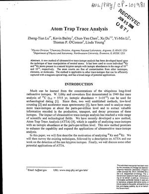 Primary view of object titled 'Atom trap trace analysis'.