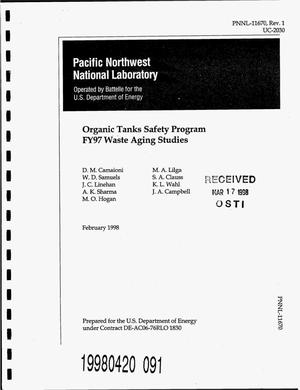 Primary view of object titled 'Organic tanks safety program, FY97 waste aging studies. Revision 1'.