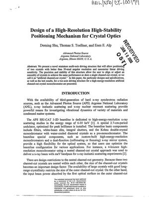 Primary view of object titled 'Design of a high-resolution high-stability positioning mechanism for crystal optics'.