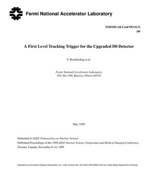 Primary view of object titled 'A first level tracking trigger for the upgraded D-Zero detector'.