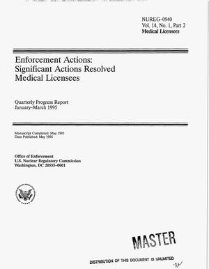 Primary view of object titled 'Enforcement actions: Significant actions resolved medical licensees. Quarterly progress report, January 1995--March 1995. Volume 14, No. 1, Part 2'.