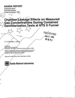 Primary view of object titled 'Chamber leakage effects on measured gas concentrations during contained demilitarization tests at NTS X-Tunnel'.