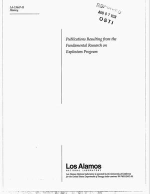 Primary view of object titled 'Publications resulting from the fundamental research on explosives program'.