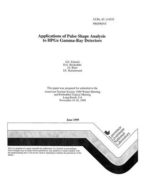 Primary view of object titled 'Applications of pulse shape analysis to HPGe gamma-ray detectors'.
