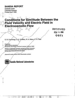 Primary view of object titled 'Conditions for similitude between the fluid velocity and electric field in electroosmotic flow'.