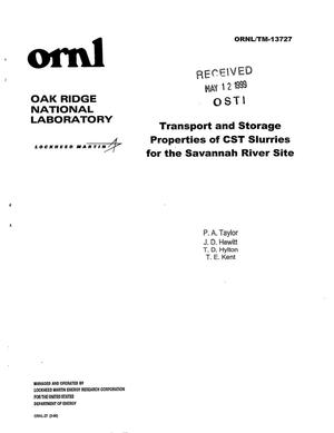 Primary view of object titled 'Transport and Storage Properties of CST Slurries for the Savannah River Site'.