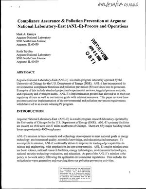 Primary view of object titled 'Compliance, assurance, and pollution prevention at Argonne National Laboratory-East (ANL-E) - process and operations'.