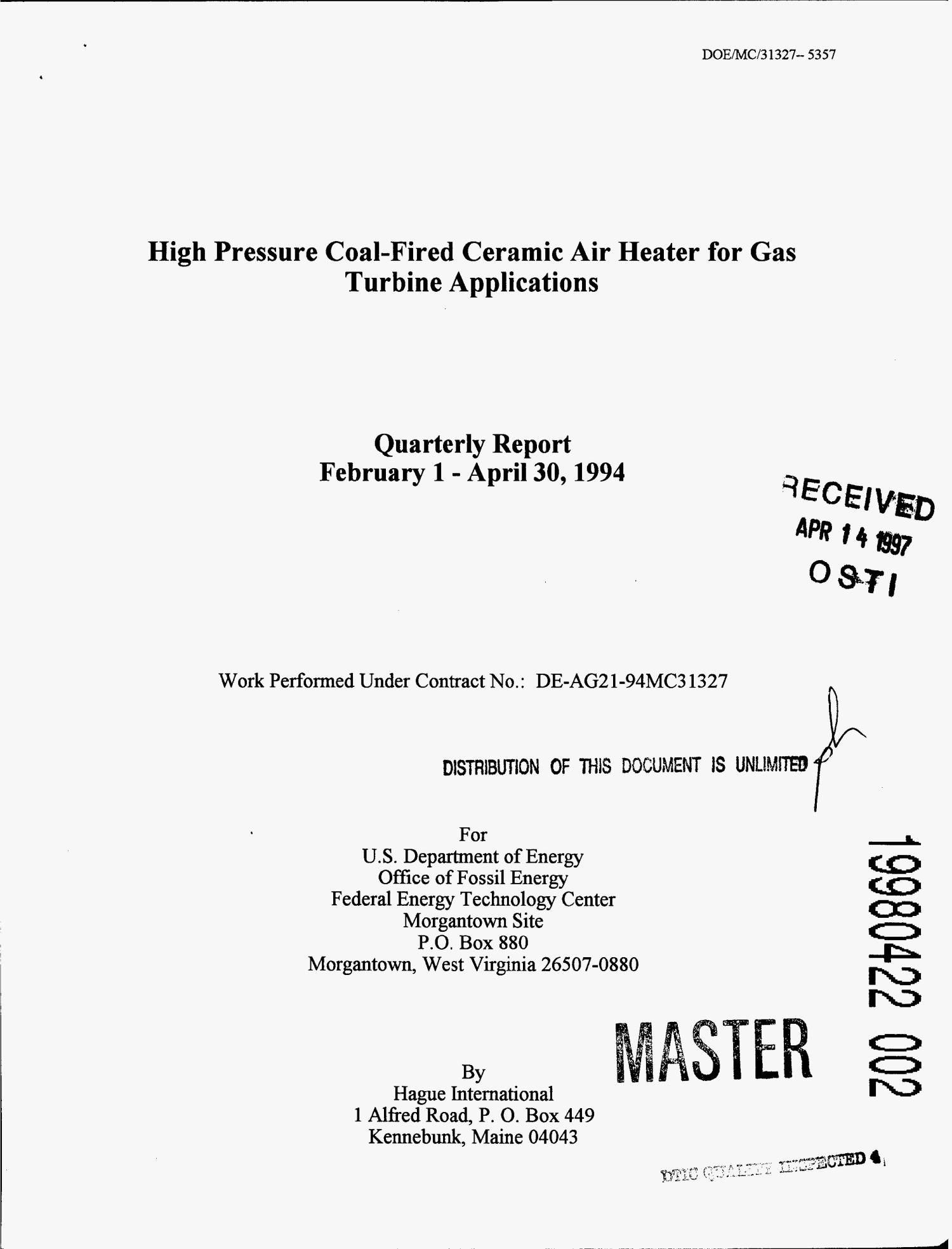 High pressure coal fired ceramic air heater for gas turbine