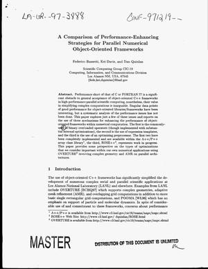 Primary view of object titled 'A comparison of performance-enhancing strategies for parallel numerical object-oriented frameworks'.