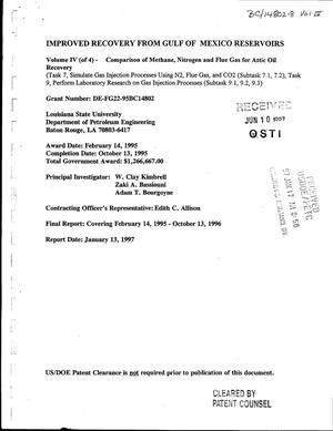 Primary view of object titled 'Improved Recovery from Gulf of Mexico Reservoirs, Volume 4, Comparison of Methane, Nitrogen and Flue Gas for Attic Oil. February 14, 1995 - October 13, 1996. Final Report'.