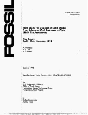 Primary view of object titled 'Field study for disposal of solid wastes from Advanced Coal Processes: Ohio LIMB Site Assessment. Final report, April 1986--November 1994'.