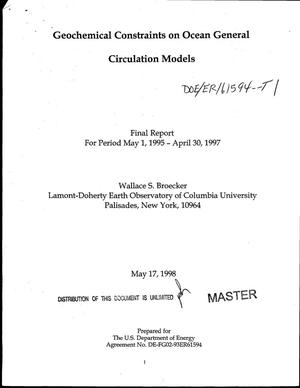 Primary view of object titled 'Geochemical constraints on ocean general circulation models. Final report, May 1, 1995--April 30, 1997'.
