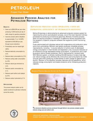 Primary view of object titled 'Advanced process analysis for petroleum refining: Petroleum project fact sheet'.