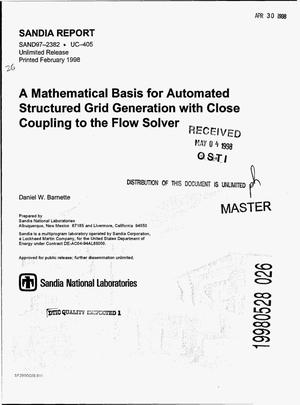 Primary view of object titled 'A mathematical basis for automated structured grid generation with close coupling to the flow solver'.