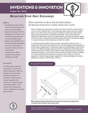 Primary view of object titled 'Microtube strip heat exchanger: Inventions and Innovations Project fact sheet'.