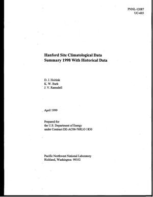 Primary view of object titled 'Hanford Site Climatological Data Summary 1998'.