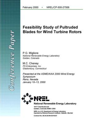 Primary view of object titled 'Feasibility study of pultruded blades for wind turbine rotors'.