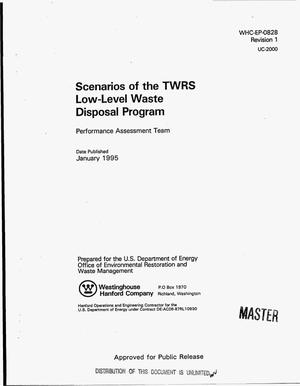 Primary view of object titled 'Scenarios of the TWRS low-level waste disposal program. Revision 1'.