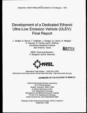 Primary view of object titled 'Development of a dedicated ethanol ultra-low emission vehicle (ULEV): Final report'.