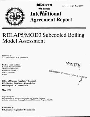 Primary view of object titled 'RELAP5/MOD3 subcooled boiling model assessment'.