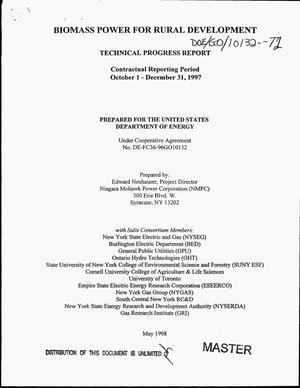 Primary view of object titled 'Biomass power for rural development. Technical progress report, October 1--December 31, 1997'.