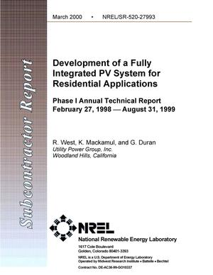 Primary view of object titled 'Development of a fully-integrated PV system for residential applications: Phase I annual technical report: February 27, 1998 -- August 31, 1999'.