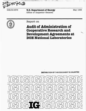 Primary view of object titled 'Audit of Administration of Cooperative Research and Development Agreements at DOE National Laboratories'.