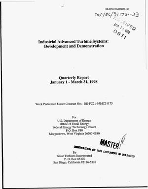 Primary view of object titled 'Industrial advanced turbine systems: Development and demonstration. Quarterly report, January 1--March 31, 1998'.