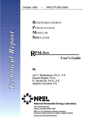 Primary view of object titled 'RPM-SIM (Renewable Energy Power System Modular Simulator) user's guide'.