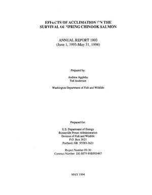 Primary view of object titled 'Effects of Acclimation on the Survival of Spring Chinook Salmon : Annual Report 1993.'.