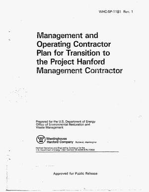 Primary view of object titled 'Management and operating contractor plan for transition to the project Hanford Management Contractor'.
