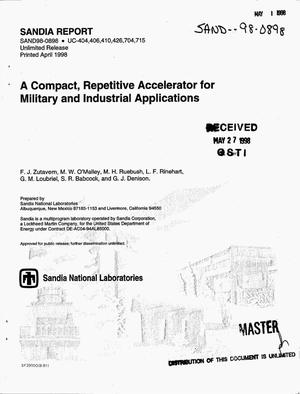 Primary view of object titled 'A compact, repetitive accelerator for military and industrial applications'.