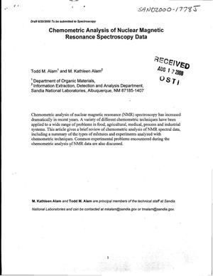 Primary view of object titled 'Chemometric Analysis of Nuclear Magnetic Resonance Spectroscopy Data'.