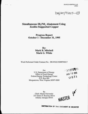 Primary view of object titled 'Simultaneous SO{sub 2}/No{sub x} abatement using zeolite-supported copper. Progress report, October 1--December 31, 1995'.