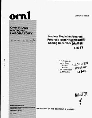 Primary view of object titled 'Nuclear medicine program progress report for quarter ending December 31, 1996'.